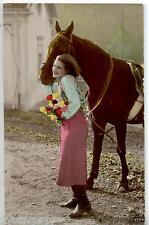 Donnina con Cavallo e Fiori Vera Foto Real Photo Horse Lady PC Circa 1920