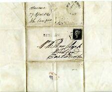 1841 GREAT BRITAIN QV 1d BLACK ENTIRE COVER PLATE 6? RUNCORN LINE POSTMARK