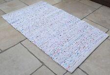Blanc Pastel Chindi Tapis Fait À La Main Recyclé Coton 90x150cm 0.9x1.5m Ourlé