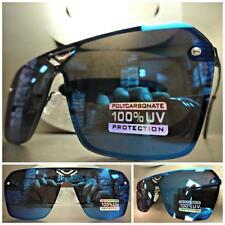 CLASSIC VINTAGE RETRO SHIELD Style SUN GLASSES Black Frame Flat Blue Mirror Lens