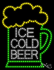 """New """"Ice Cold Beer"""" w/Logo 26x20 Solid/Animated Led Sign W/Custom Options 21735"""