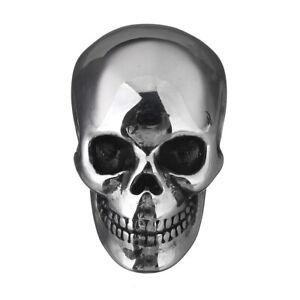 Edelstahl Schädel Anhänger poliert silber 17 x 14 mm Skull Totenkopf Schieber