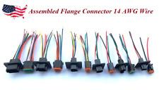 """6"""" Black Assembled Flange  Deutsch 2,3,4,6,8,12 Pin,14 AWG  waterproof connector"""