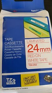 PACK OF 4 24 MM  BROTHER 24 RED ON WHITE LAMINATED TAPE
