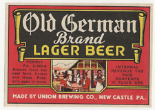 Union Brewing Old German Beer label Irtp New Castle Pa