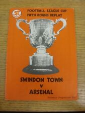 11/12/1979 Swindon Town v Arsenal [Football League Cup Replay] (Light Crease). T
