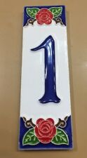 House numbers in Ceramic.2x6 In.Tile Number 1.Made/painted By Hand in ItalY