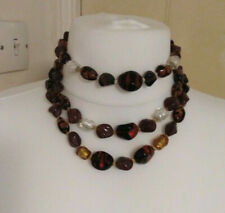 Vintage Necklace glass beads facet amber tone 3 strand ornate goldtone box clasp