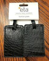 2 Brand New ETA Black Leather Luggage Tag Travel Accessory 48421