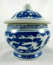Blue White Round Floral Ceramic Footed Jar Urn Lid Decorative China Chinoiserie