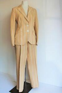 Elegance Pant Suit Jacket Linen Blend Mustard Stripe Safari Boating Uk 16 Beige