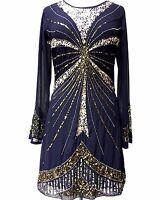 Ladies Gatsby Flapper Blue Shift dress sizes 8 10 12 14 16 18 20 22 24