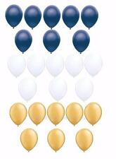 24 PC GOLD White and NAVY Balloon Bouquet CLASSIC COLORS FREE SHIPPING