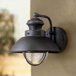 Fordham Farmhouse Rustic Industrial Outdoor Wall Light Fixture LED Black Metal 8