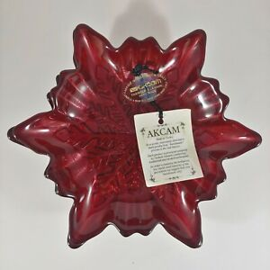 """4 AKCAM Red Turkish Glass Sparkly Snowflake 6"""" Christmas Appetizer Dessert Plate"""