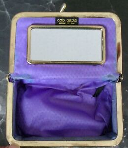 Gently used mirrored MAKE-UP / JEWELRY POUCH, purple, Genuine EEL SKIN