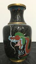 """Chinese Black Cloisonne Vase 5 Claw Dragons Oriental Enamel Hand Painted 5"""""""