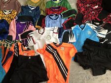 Lot of 32 Youth Adult Soccer Jerseys, Shorts, Socks, with Score Dufflel Bag.