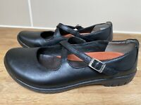 Clarks Unstructured 'UN LADY' Black Leather Cross Strap Flat Shoes UK 5 Wide Fit