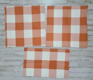 Orange Plaid Pillow Cover Lot Zipper Tennessee Texas