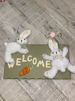 """Adorable Easter Decor Plush Bunny Welcome Wall Hanging- Preowned 12""""x14"""""""