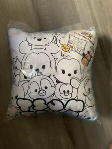 DISNEY TSUM TSUM COLOR PILLOW Mickey Minnie Goofy Blue White Washable Kids Craft