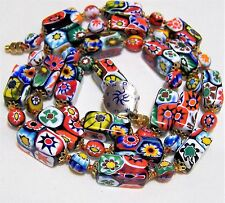 Vintage Murano Millefiori Art Glass Bead 28in Necklace Round Rectangular 517hz