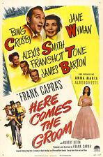 HERE COMES THE GROOM Movie POSTER 27x40 Bing Crosby Jane Wyman Franchot Tone