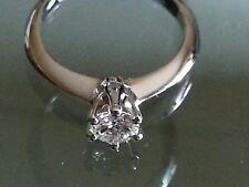 Anello Solitario mod Tiffany Diamante Naturale Brillante Oro 18Kt 0,15 ct Natale