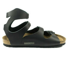 Birkenstock Athen Sandals Leather Smooth Shoes Gladiator Black Ankle Strap Thong