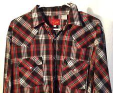 Vintage Mens Plains Western Black Red Pearl Snap Shirt Large Rockabilly Plaid L