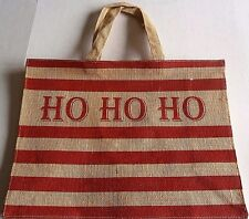 "CHRISTMAS Reusable Tote Bag HO  HO  HO 17"" x 13""  BURLAP"
