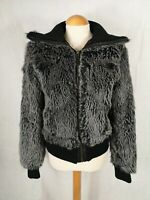 Ladies Jacket Size M 10 ZARA Black Grey Faux Fur Bomber Smart Casual