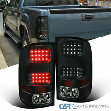 GMC 07-14 Sierra 1500 2500 3500 Pickup Black LED Tail Lights Rear Brake Lamps
