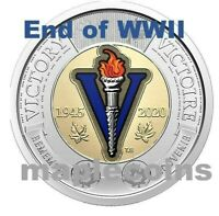 NEW! 2020 75th Anniversary end of WWII Toonie $2 COLORr Canada Coin