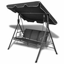 vidaXL Garden Swing Chair Black Outdoor Patio Canopy Porch Seat Hammock Daybed