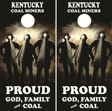 Kentucky Coal Miners Cornhole Board Skin Wrap Decal Set bag toss -LAMINATED
