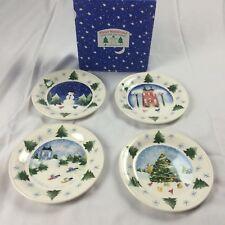 New Set of 4 Nikko Japan Winter Wonderland Salad Desert Plates Christmas Winter