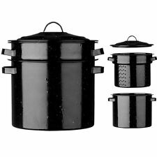 Vintage Enamel PASTA POT 22CM DIA Black Speckled With Lid Kitchen