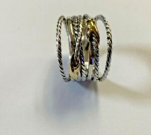 David Yurman Size 6.5 Double X Crossover Ring 925 Sterling Silver 18k Gold