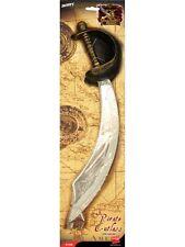 Pirate Sword & Eyepatch 46cm Smiffy's Silver Pirate Cutlass Fancy Dress Accessor