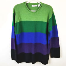 Vintage 80's CHAUS Color Block Striped Sweater XL Bold Bright Long Ombre Party