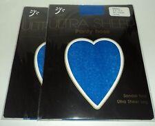 """2 KORUS Ultra Sheer Pantyhose Sandalfoot SMALL  5'-5'3"""" 90-120 Lbs ROYAL BLUE"""