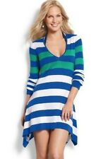 TOMMY BAHAMA $118 Hi-Low Beach Sweater Tunic Top Large Surf Blue Stripe NWT L
