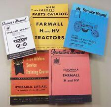 5 Farmall H Hv Tractor Service Parts Operators Manuals Owners Shop Repair Ihc Ih