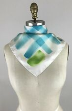 "Burberry 100% Silk Scarf Multi Colored Green Iwhite Blue Yellow 18.5"" X 18.5"""