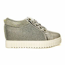 Glitter, sparkly Ankle hidden wedge Trainer (available in silver or Black)