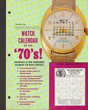 VINTAGE AD SHEET #1040 - CRYSTAL DATE WATCH CALENDAR - ADVERTISING