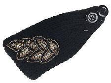 Women Crochet Knit Winter Headband Rhinestone Bead Hairband Head Wrap Ear Warmer