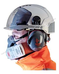JSP Evo Vista Lens Helmet/Sonis 3 Helmet Mounted Ear Defenders/Half-Mask With P3